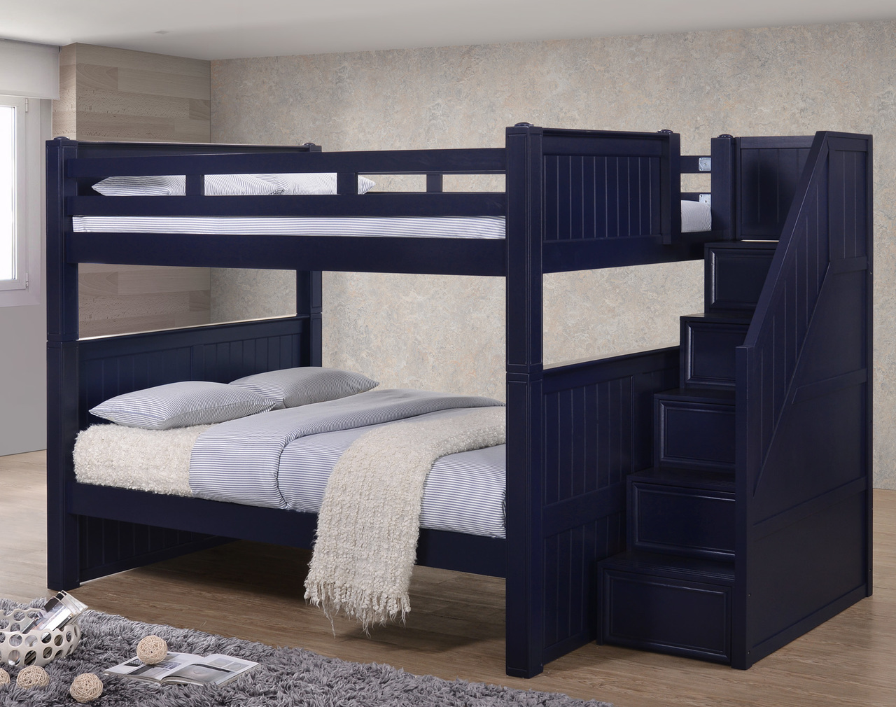 full over full bunk beds with trundle and stairs dillon full over full bunk beds with storage stairs | LZSDUKN