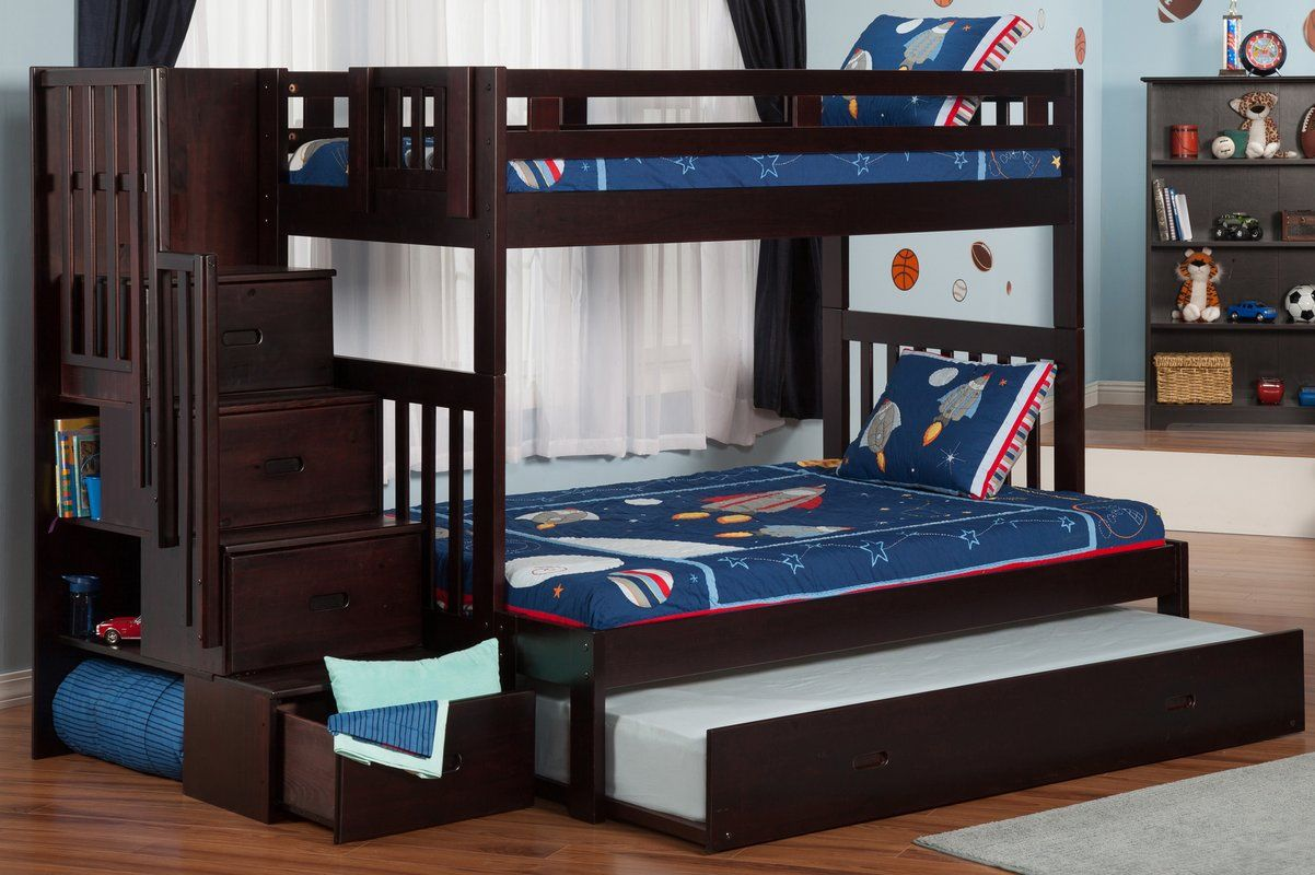 full over full bunk beds with trundle and stairs - LZVTKIA