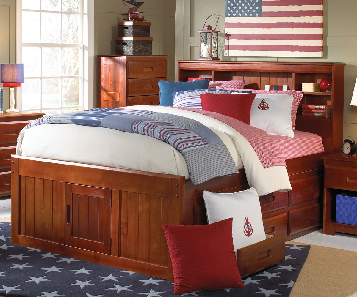 full size captains bed with bookcase headboard alternative views: CCLHQTG