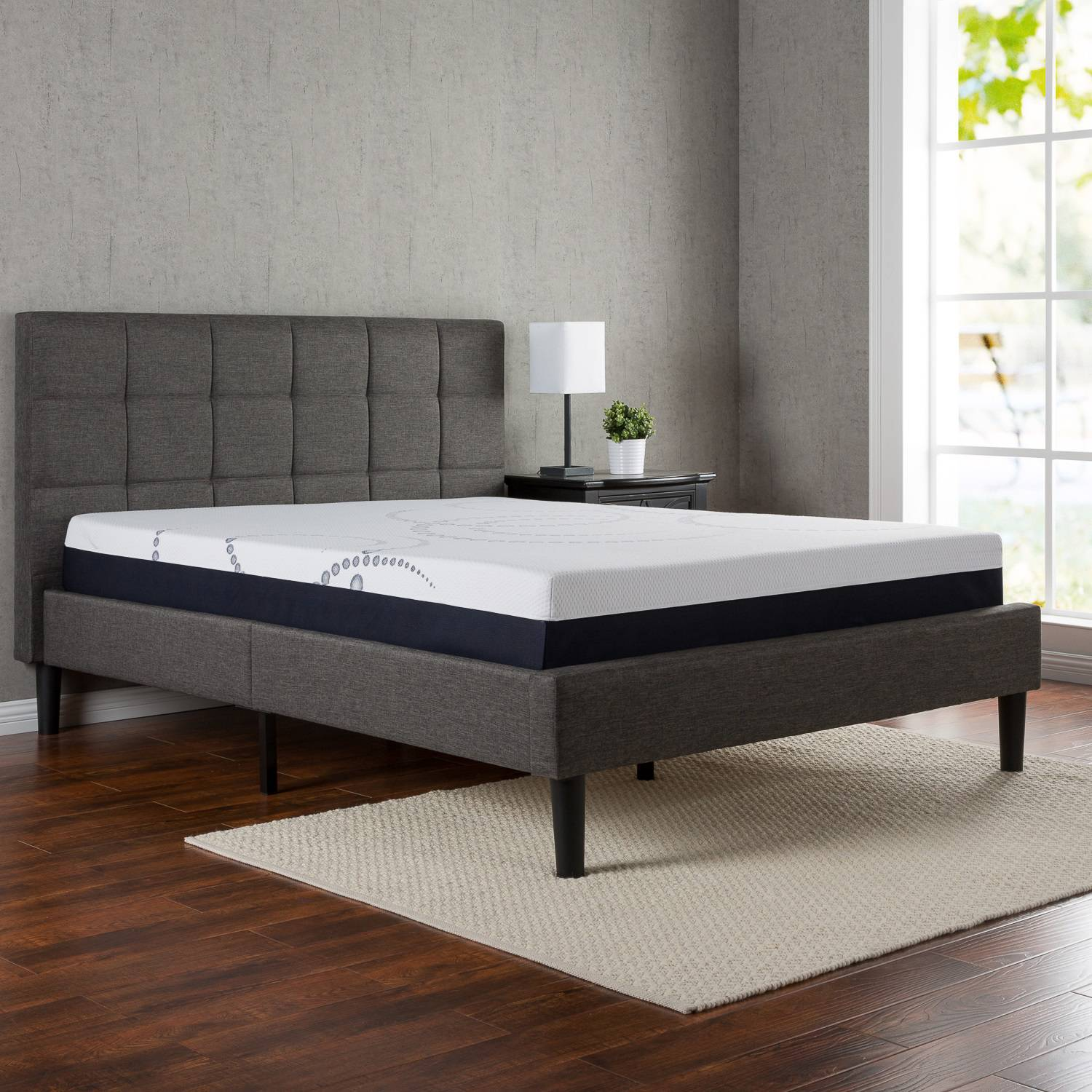 full size platform bed frame with headboard zinus upholstered square stitched platform bed with headboard and wooden VBTZJKZ