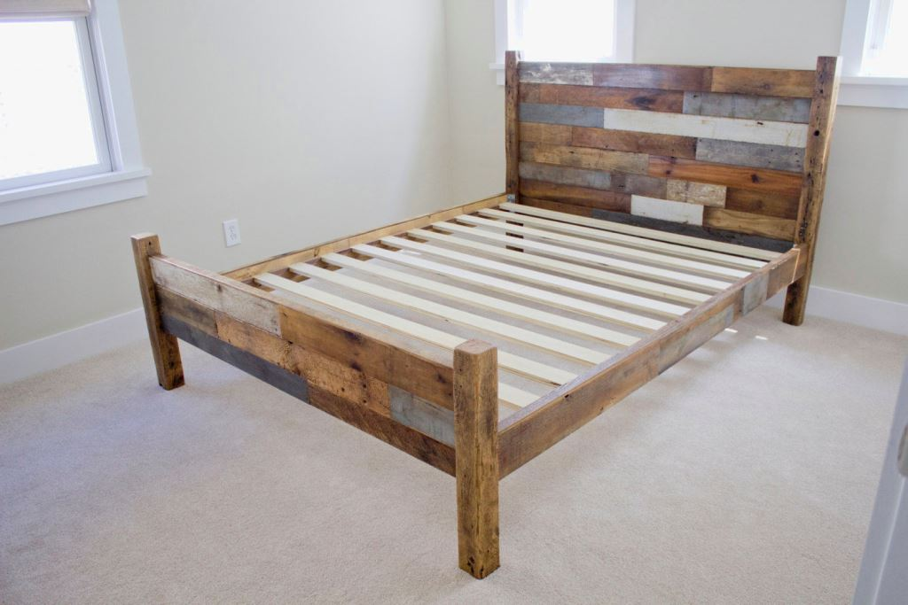 Elegant Full Size Wooden Bed Frame with Headboard