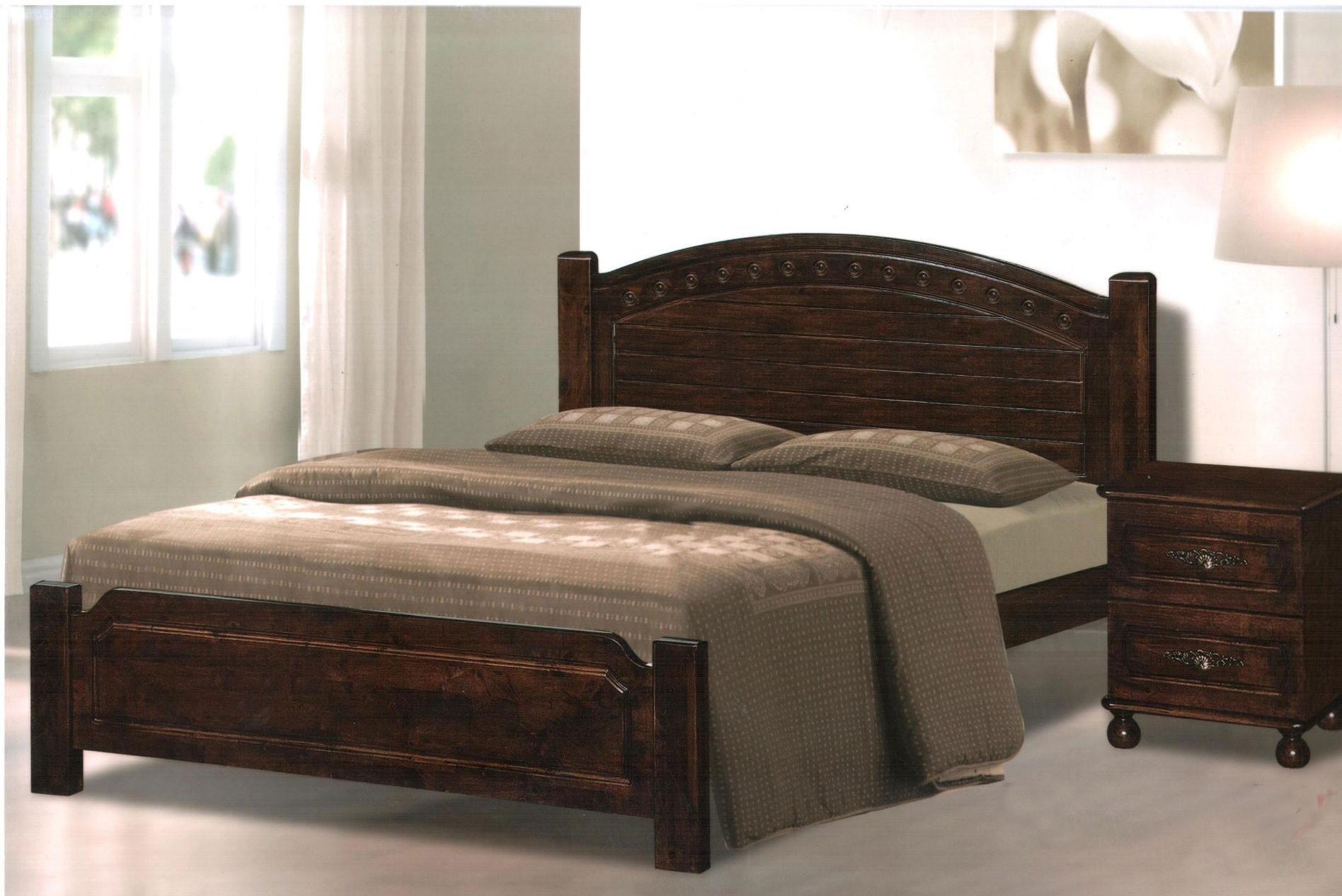 full size wooden bed frame with headboard dark lacquered mahogany wood full bed frame with arched headboard, XHILQZU