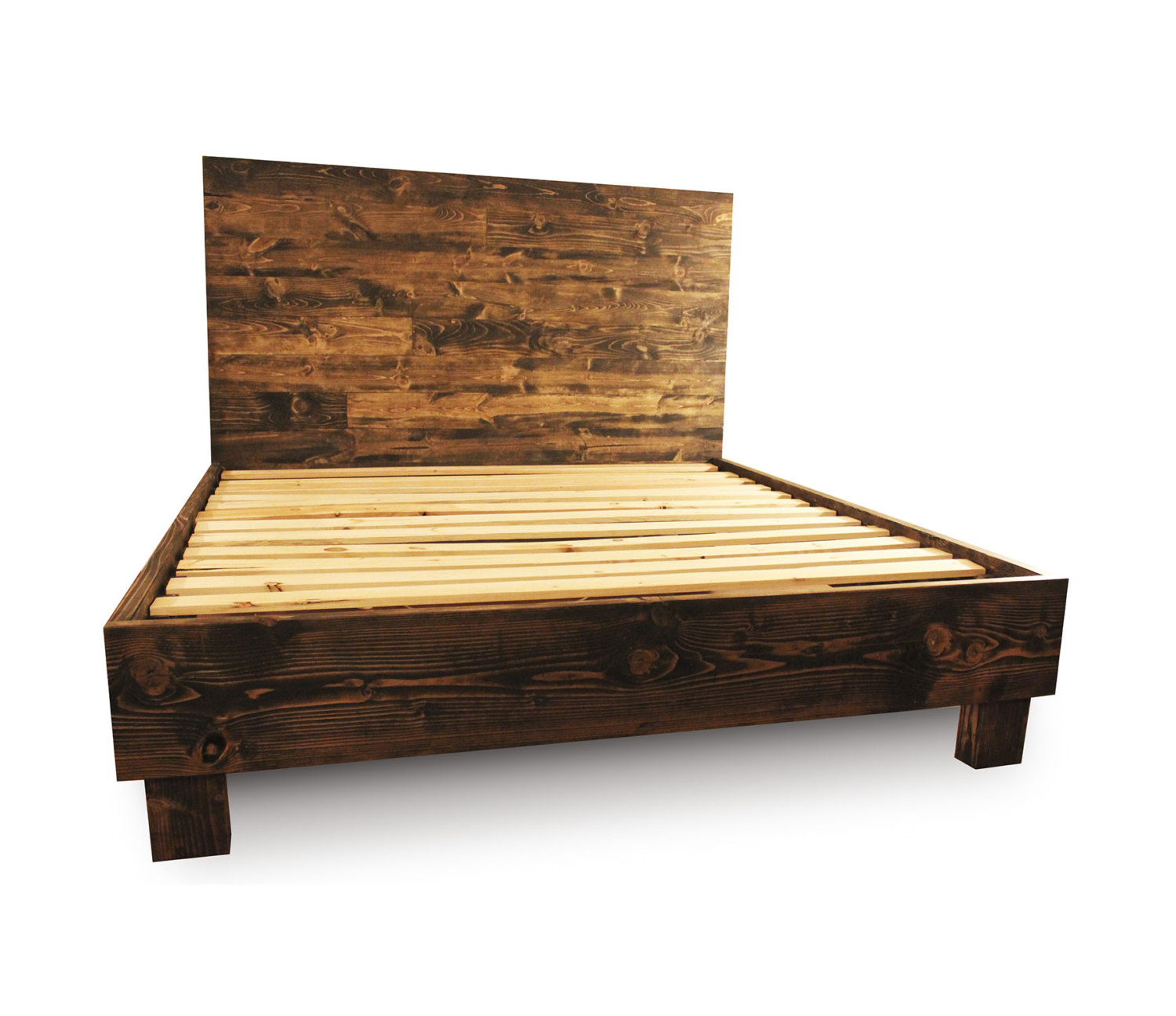 full size wooden bed frame with headboard rustic dark brown wooden bed frame with headboard and four FQIHSJN