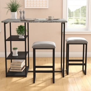 indoor bistro sets for kitchen denham 3 piece grey pub table set OKGVRKX
