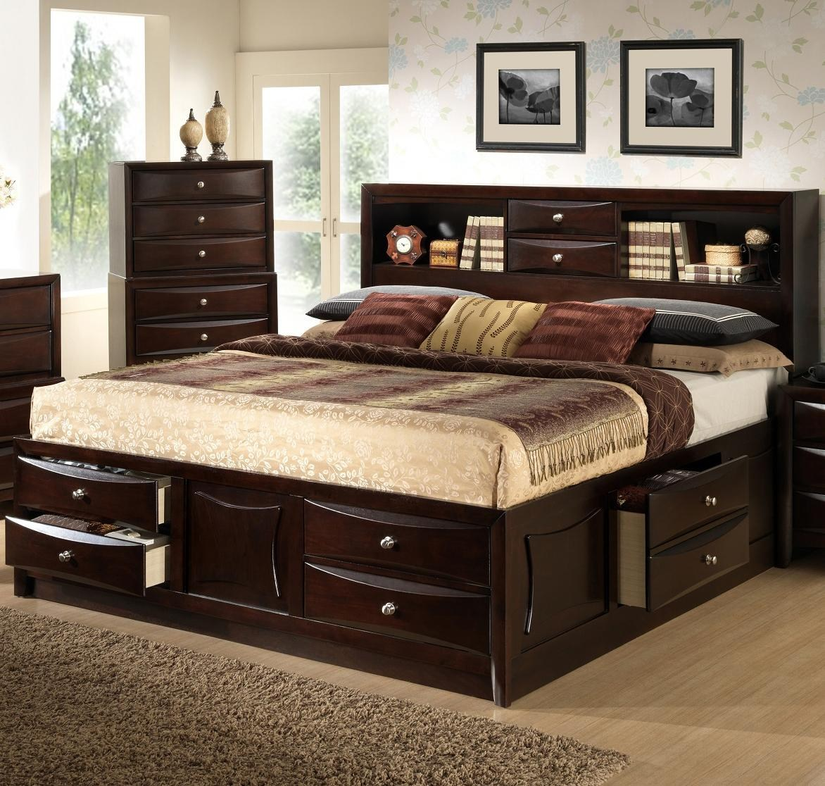 King Storage Bed With Bookcase Headboard: 2 in 1 Great Deal