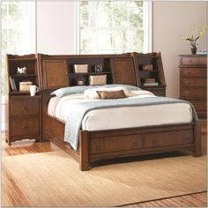 king storage bed with bookcase headboard QEGGDCT