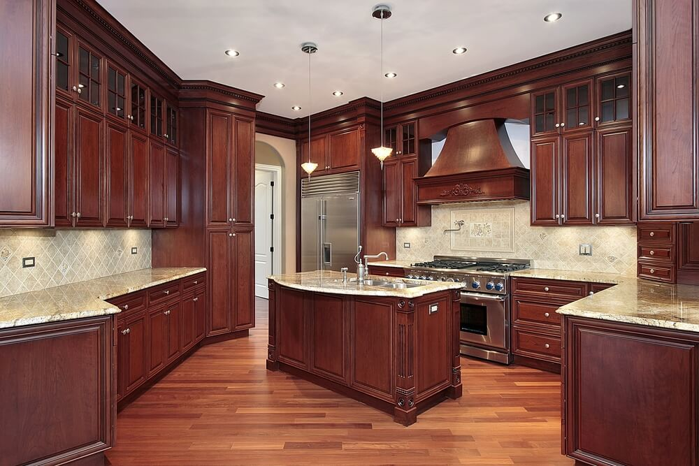kitchen color schemes with cherry cabinets here we have another great example of cherry wood contrasting BXFCNON