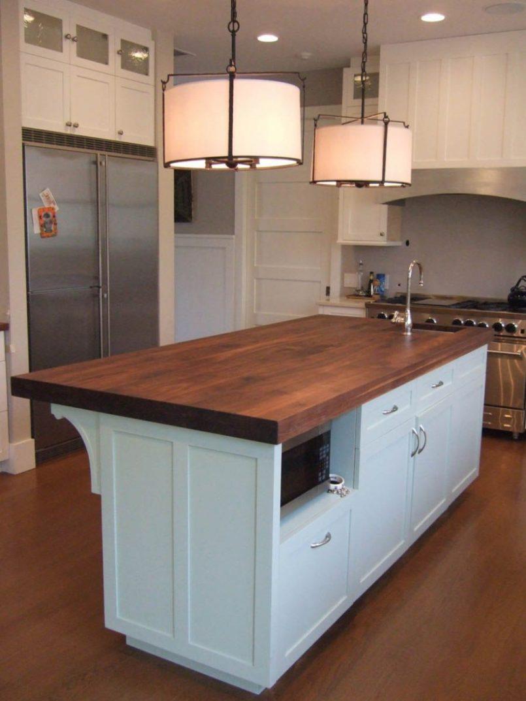 kitchen islands:white kitchen island with butcher block top - kitchen EQUDRYJ
