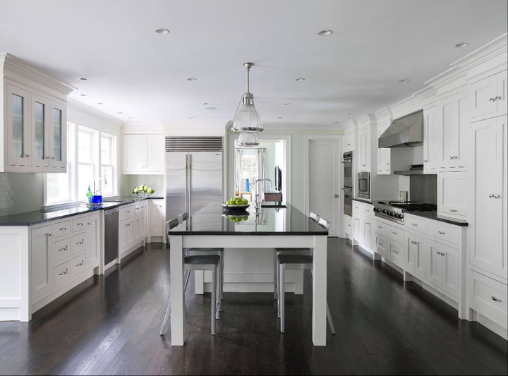 kitchens with white cabinets and dark floors white kitchen cabinets dark wood floors QFXPKJL