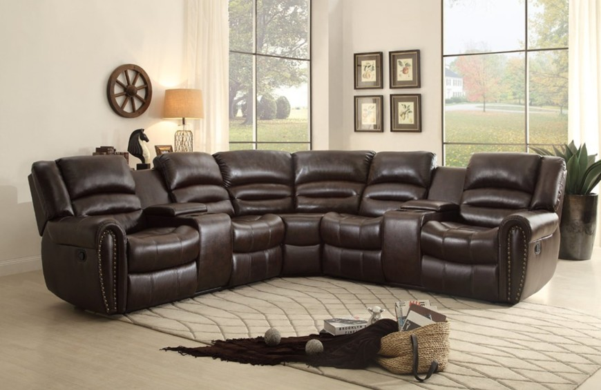 leather sectional sofa with chaise and recliner 1brown-l-shaped sofa recliner DGKABPV