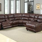 Lovely Leather Sectional Sofa with Chaise and Recliner