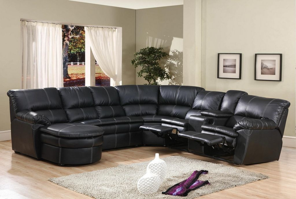 leather sectional sofa with chaise and recliner awesome black reclining JKIKIQR