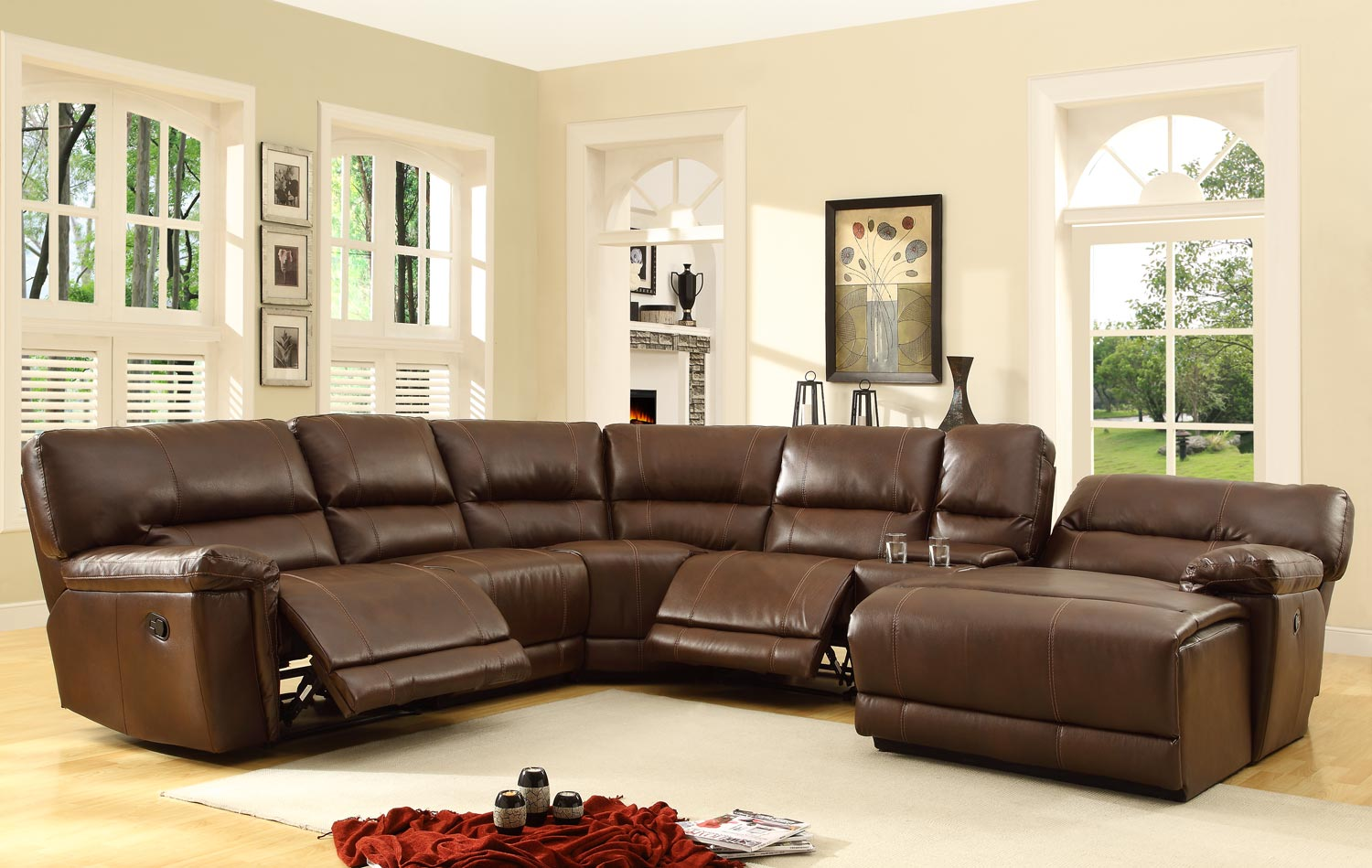 leather sectional sofa with chaise and recliner homelegance blythe sectional sofa set - brown - bonded leather HEILZNJ
