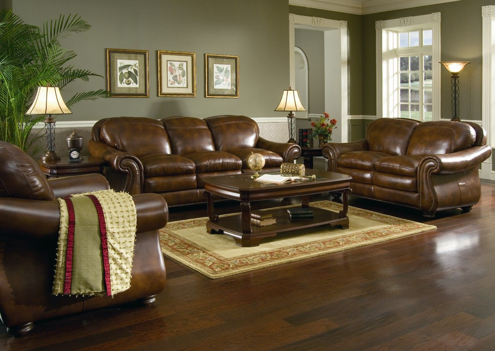 living room color ideas for brown furniture brown leather sofa set for living room with dark hardwood AHHUNCS