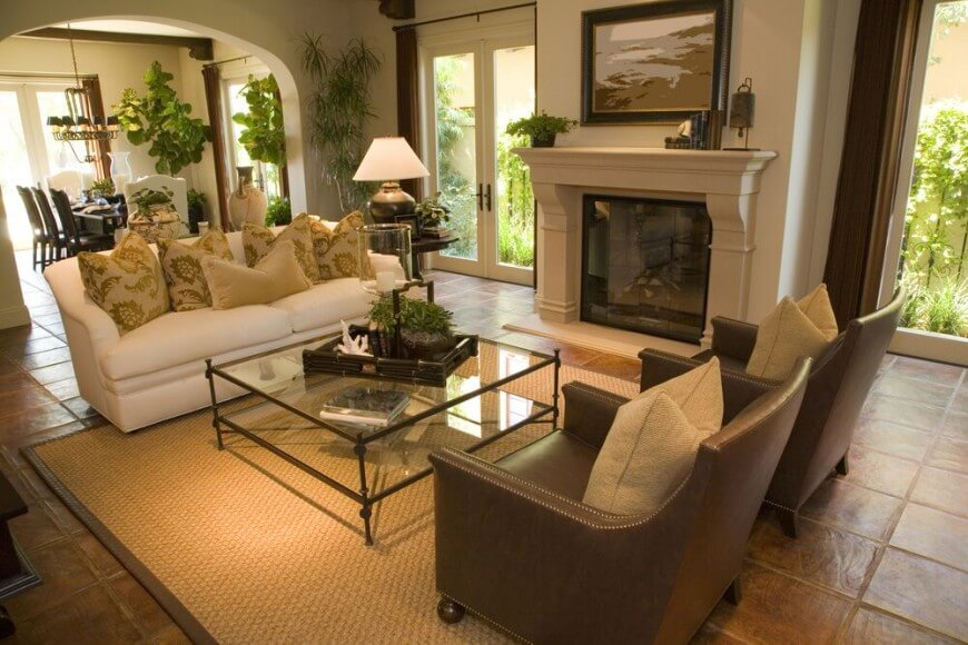 living room ideas with leather furniture in a living room that is a crossroads between other KGSJQSQ