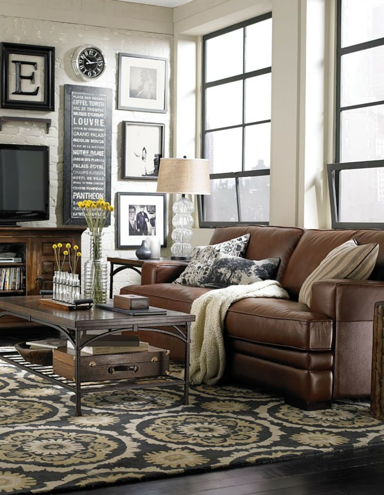 living room ideas with leather furniture love this room. brown leather, rustic wood, black and white CYWQWIR