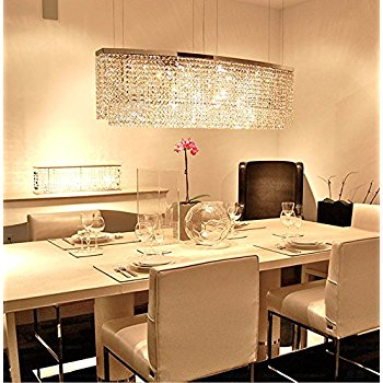 Modern Crystal Chandeliers For Dining Room Siljoy Chandelier Lighting Rectangular Oval Pendant Lights Nmsaloc