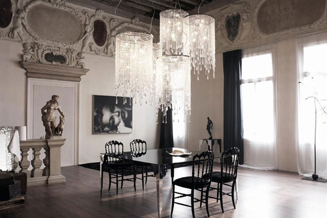 modern crystal chandeliers for dining room venezia crystal chandelier by cattelan italia contemporary-dining-room QWFTMRK