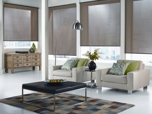 modern window treatments for living room window treatments. roller shades new york city modern-living-room XWKTGMX