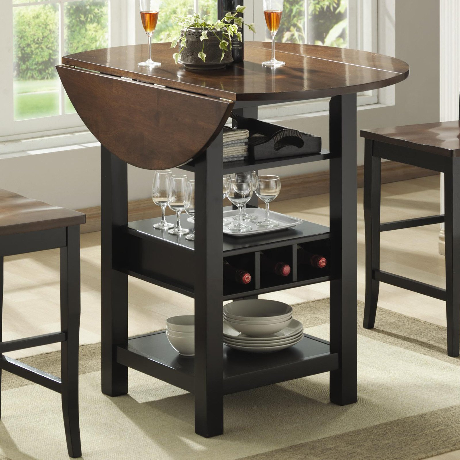 narrow counter height table for kitchen ridgewood counter height drop leaf dining table with storage - KNVLKDZ
