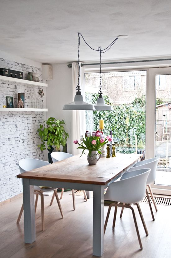 pendant lighting over dining room table two industrial pendant lights over the dining table. image via FRILYVM