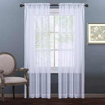 Plain Sheer Curtains nicetown sheer window curtains panels - sheer curtain panels for bedroom - BYRTKLE