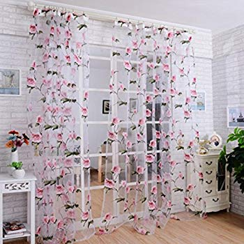 Printed Sheer Curtains dzt1968® 1pc white printed flower lace chiffon tulle sheer window KZNTTXO