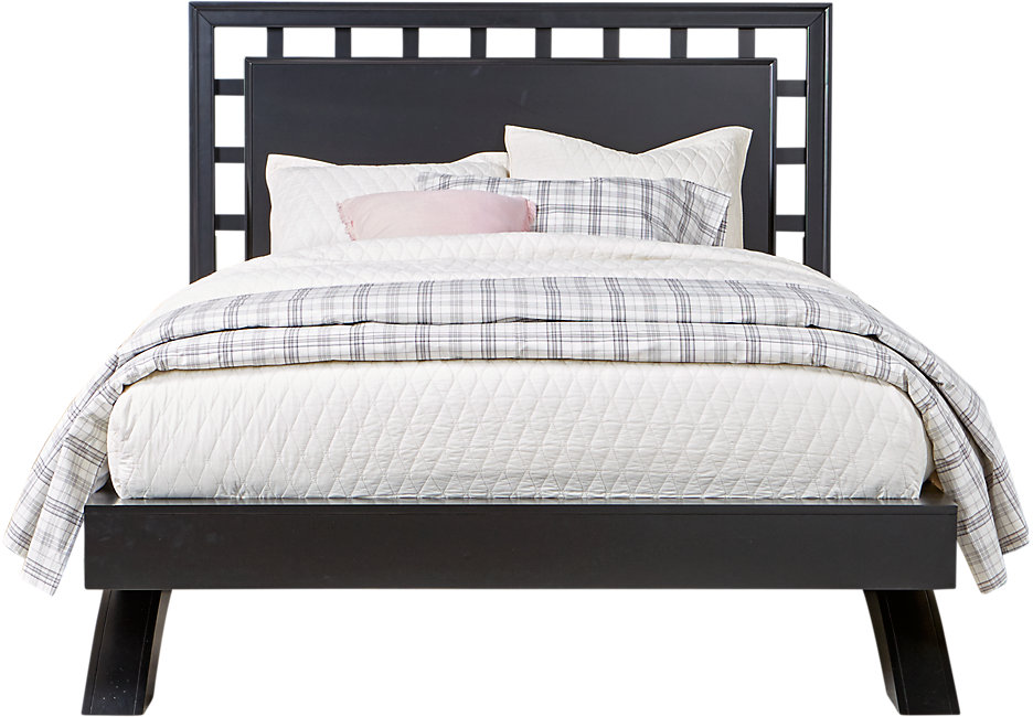 queen platform bed frame with headboard belcourt black 3 pc queen platform bed with lattice headboard EGGFVTR