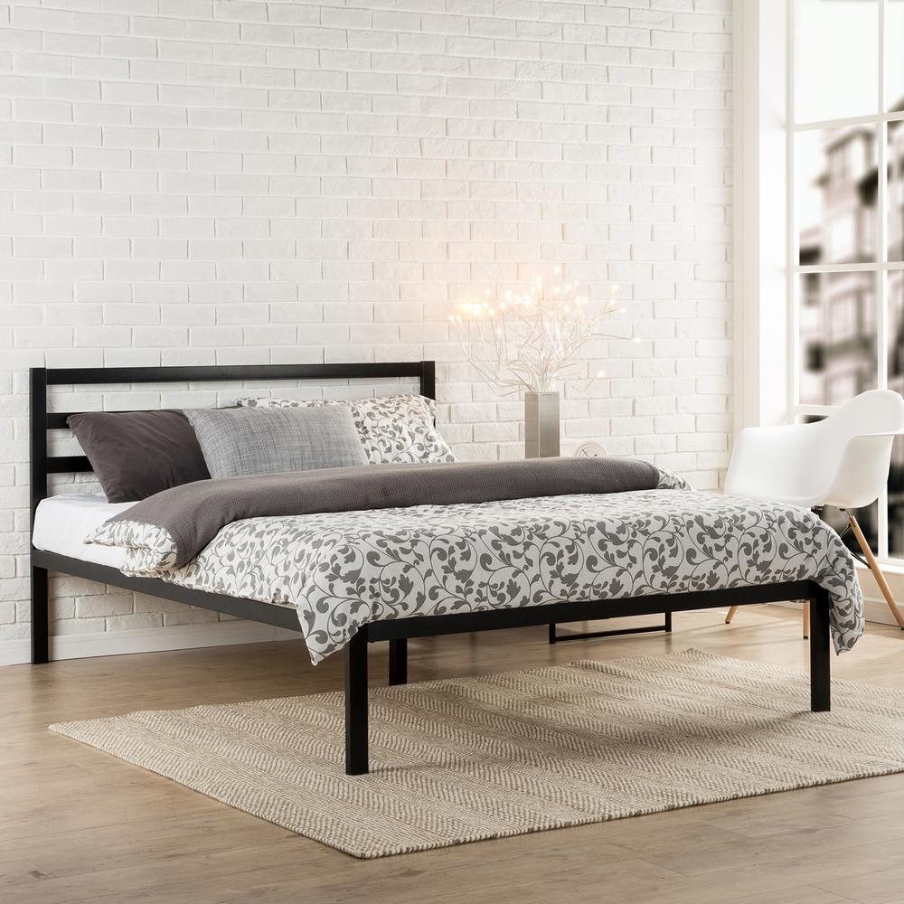 Contemporary Queen Platform Bed Frame with Headboard