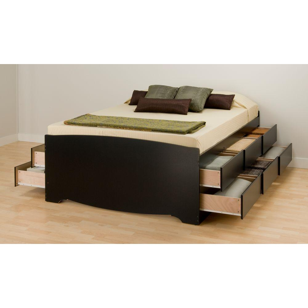queen size platform bed frame with storage prepac queen wood storage bed-cbq-6212-k - the home depot PGEWDFI