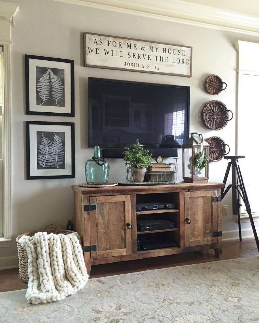 rustic wall decor ideas for living room rustic tv console cabinet IRNVHMS