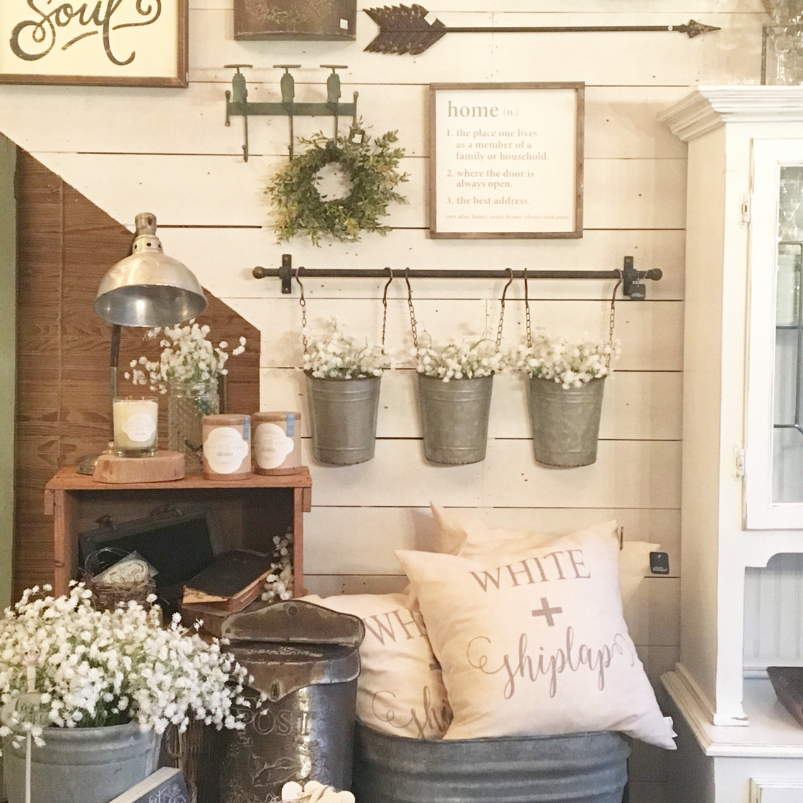 rustic wall decor ideas for living room wall collage with reclaimed metal farm fixtures JJYQUXE
