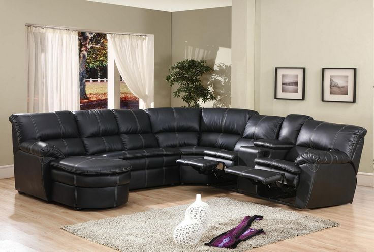 sectional with chaise lounge and recliner 4 pc black bonded leather sectional sofa with recliners and NVCXUYN