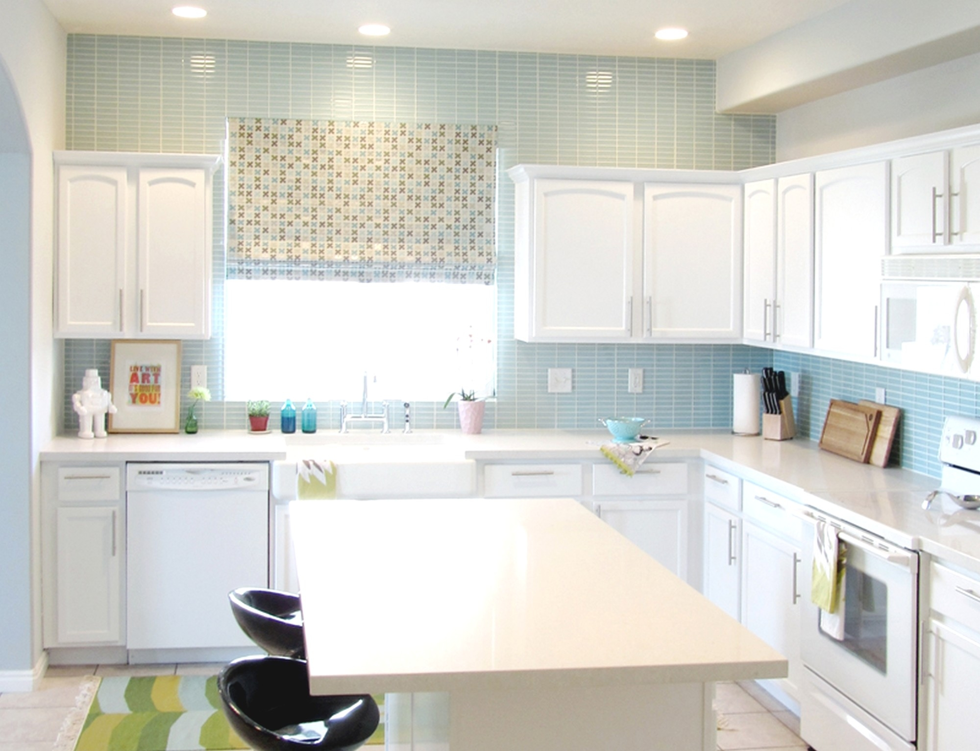 stunning kitchen paint colors with white cabinets and blue tile AXIGXXQ