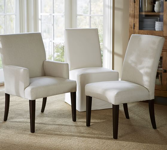 upholstered dining room chairs with arms pb comfort square upholstered dining chairs ... TGSORKW