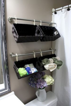 wall hanging baskets for bathroom storage install a set of towel bars on the wall behind RQZNPLV