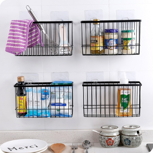 wall hanging baskets for bathroom storage iron kitchen storage basket sundries wall organizer rack kitchen seasoning NNOOYTQ
