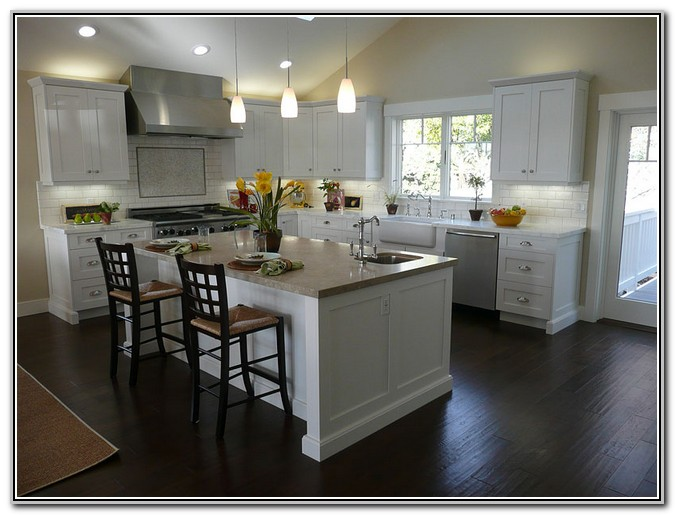 White Kitchen Cabinets With Dark Wood Floors Floor Beautiful