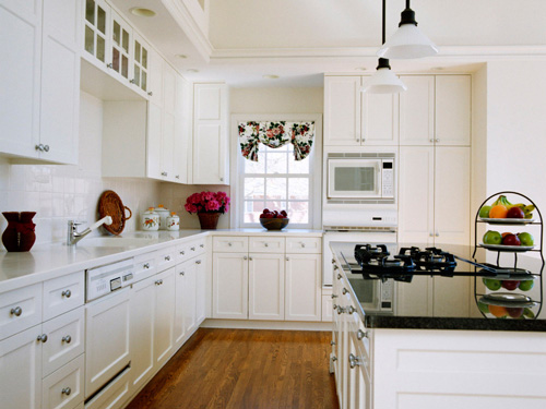 white kitchen cabinets with white appliances JWFKPQA
