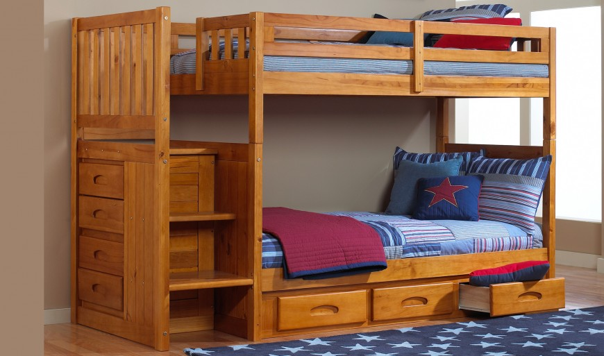 Wooden Bunk Beds With Stairs And Drawers Functionality And