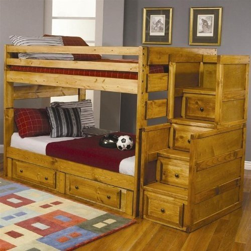 wooden bunk beds with stairs and drawers solid wood bunk beds twin over twin YEXJPAL