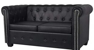 Amazon.com: Festnight Luxurious Faux Leather 2-Seater Sofa Loveseat