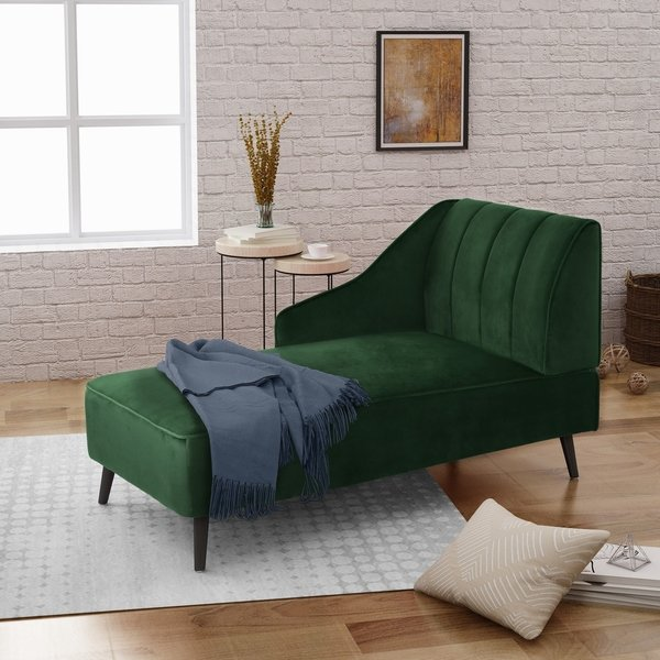 Shop Auley Glam Velvet Accent Chaise Lounge by Christopher Knight
