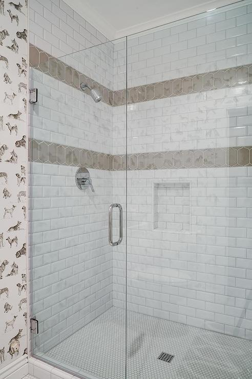 White Shower Tiles with Taupe Border Accent Tiles - Transitional
