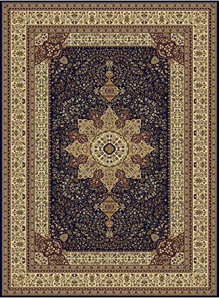 Amazon.com: Large Luxury Silk Traditional Rug For Living Room Navy