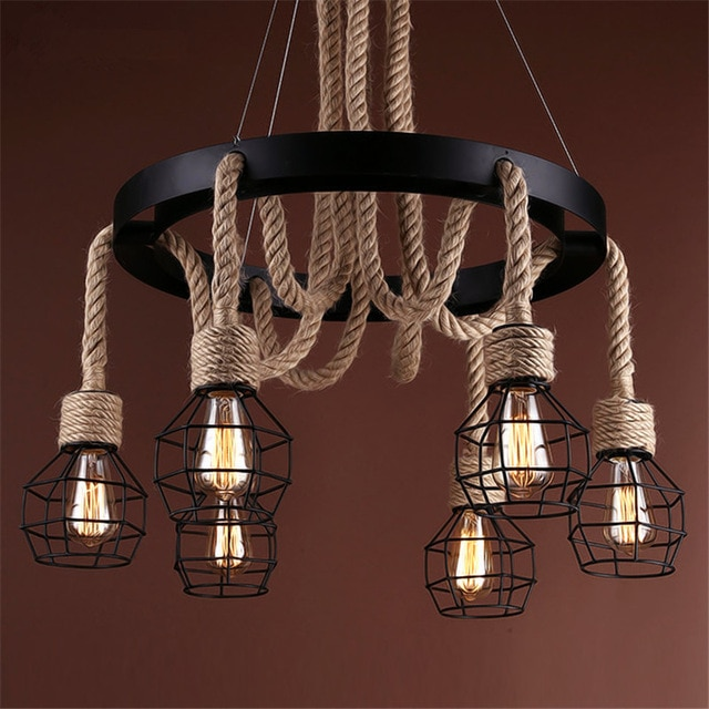 Vintage pendant lights rope Edison Bulb lamp modern fixtures