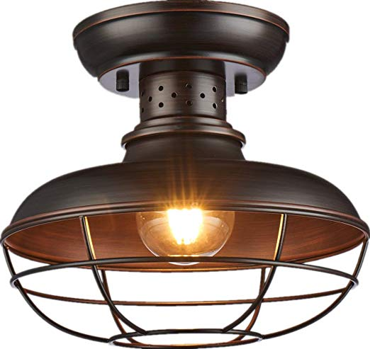 SHUPREGU Lighting Semi Flush Mount Ceiling Light Fixture, Rustic