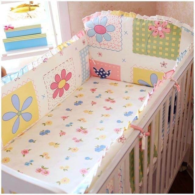 Promotion! 6PCS Cute Baby Cot Set 100% Cotton Crib Set For Kids