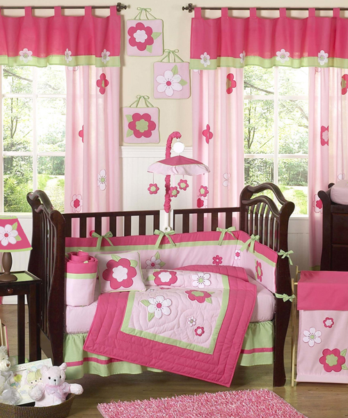 Baby Girl Bedding Set Pink & Green Flowers