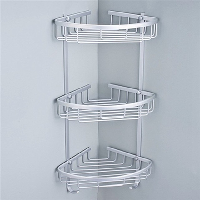 3 Sizes Space Aluminum Triangular Shower Caddy Shelf Bathroom Corner